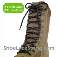 Gray(Grey) & Black 71IN Work/Combat Boots Round Stripe Laces