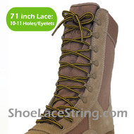 Yellow & Brown 71IN Work/Combat Boots Round Stripe Laces
