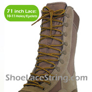 Yellow & Tan 71IN Work/Combat Boots Round Stripe Laces
