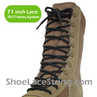 Black & Gray(Grey) 71IN Work/Combat Boots Round Laces 1PAIR