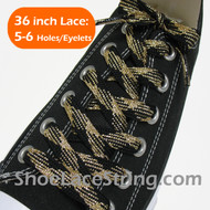 Gold Black Fat Glitter Sparkling Shoelace Strings 36INCH 1PAIR