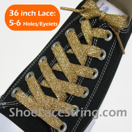 Gold FLAT FAT Glitter Sparkling Shoelace Strings 36INCH 1PAIR