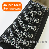 Black White Leopard Print Shoelace Strings 36INCH 1PAIR