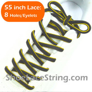 "Charcoal Dark Gray and Yellow 55"" Oval ShoeLace Shoe String 1Pai"