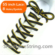 Yellow on Black 55inch Oval ShoeLace Shoe String 1Pair