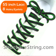 Neon Green on Black 55inch Oval ShoeLace Shoe String 1Pair