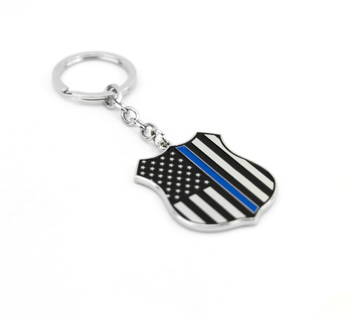 "1 NEW BLACK BLUE CHROME METAL ""THIN BLUE LINE"" SHIELD BADGE LOGO KEY CHAIN"