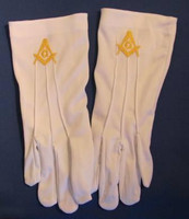 Masonic Dress Gloves with Gold Square & Compass