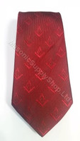 Crimson Red Tie with Hidden Square and Compass