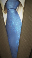 Royal Blue Masonic Tie with Wreathing and Symbols