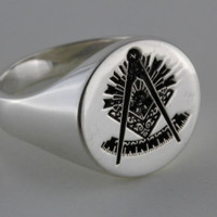 Custom Silver  Masonic Signet  Ring  Round   Your choice of Symbols