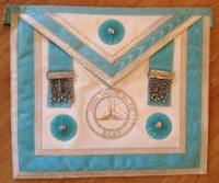 Silver Officers Apron  with Silver  Lodge Badge