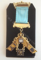 Past Master Breast Jewel with Working Tools A.F&A.M  Gold Finish  2 Bar  Craft Blue