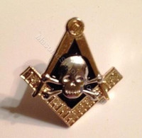 Lapel pin Square & Compass with Skull & Bones Symbol  1/2 inch
