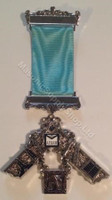 Past Master Breast Jewel with Working Tools A.F&A.M  Silver Finish  2 Bar  Craft Blue