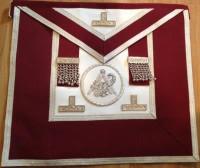 Grand  Stewards   Apron  Crimson Silver with Emblem