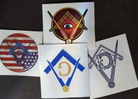 American 4 pack Masonic  Decals