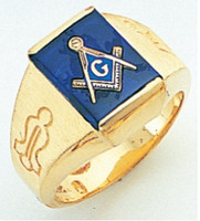 SQUARE FACE GOLD MASONIC BLUE LODGE RING WITH CHOICE OF STONE COLOUR AND SIDE EMBLEMS GLCS1172BL