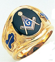 SQUARE FACE GOLD MASONIC BLUE LODGE RING WITH CHOICE OF STONE COLOUR AND SIDE EMBLEMS GLCS1145BL