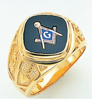 DIAMOND SHAPED FACE GOLD MASONIC BLUE LODGE RING WITH CHOICE OF STONE COLOUR AND SIDE EMBLEMS GLCS1159BL
