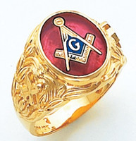 OVAL FACE GOLD MASONIC BLUE LODGE RING WITH CHOICE OF STONE COLOUR AND SIDE EMBLEMS HOM705BL