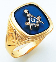 HOM366BL SQUARE FACE GOLD MASONIC BLUE LODGE RING WITH CHOICE OF STONE COLOUR AND SIDE EMBLEMS