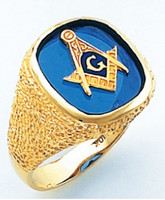 HOM632BL SQUARE FACE GOLD MASONIC BLUE LODGE RING WITH CHOICE OF STONE COLOUR AND SIDE EMBLEMS HOM632BL