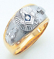GOLD MASONIC BAND RING WITH WHITE GOLD DETAILING AND SIDE EMBLEMS GLC670BL