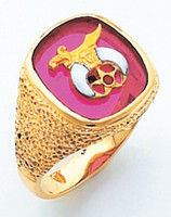 GOLD SHIRINE RING WITH SQUARE FACE AND RED STONE HOM632SH