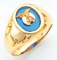 GOLD SHRINE RING WITH BLUE STONE MAS60332SH