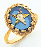 GOLD PLATED EASTERN STAR RING WITH BLUE CENTRE MAS57358B