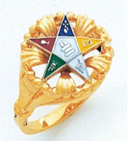 GOLD EASTERN STAR RING WITH WREATHING DESIGN AND COLOUR DETAILING HOM407ES
