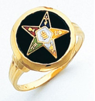 ROUND GOLD EASTERN STAR RING WITH BLACK ENAMEL CENTRE AND COLOUR DETAILING HOM488ES