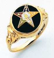 ROUND GOLD EASTERN STAR RING WITH BLACK ENAMEL CENTRE AND COLOUR DETAILING HOM490ES