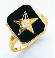 SQUARE GOLD EASTERN STAR RING WITH BLACK ENAMEL CENTRE AND COLOUR DETAILING HOM574ES