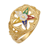 ROUND GOLD EASTERN STAR RING WITH LEAF DETAILS AND COLOURED STAR DETAILS HOM299ES