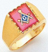SQUARE GOLD BLUE LODGE MASONIC RING WITH STONE COLOUR CHOICE MAS60436BL