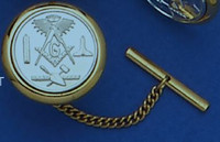 GOLD PLATED CIRCLE SQUARE AND COMPASS TIE TAC MAS1567TT