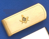GOLD PLATED SQUARE AND COMPASS MONEY CLIP MASCJ1508