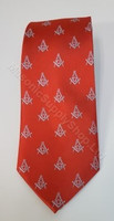 Red Masonic Tie with Silver Square & Compass Design