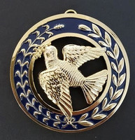 Grand Deacons  Collar Jewel  Dove on Blue Back Ground