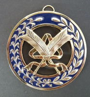 Grand Secretary   Collar Jewel   Crossed Quills on Blue background