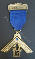 Past Master Breast Jewel   One Bar  Royal Blue  with  Blue  Stone