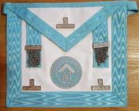 Silver PM Apron  with  Blue  Lodge Badge