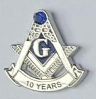 Masonic Anniversary  10 Year Lapel Pin