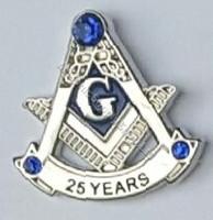 Masonic Anniversary  25 Year Lapel Pin