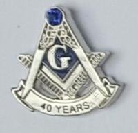 40 year masonic lapel Pin