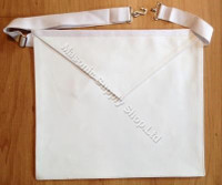 Entered Apprentice White  Lambskin Leather Apron  14 X 16  Adjustable Belt