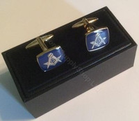 Rectangular Blue Square & Compass Cufflinks