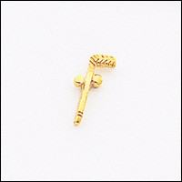 TWO BALL & CANE GOLD LAPEL PIN